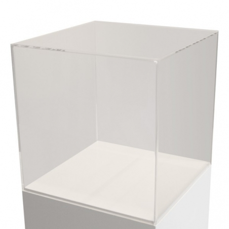 Vitrinenhaube aus extra transparentem 4mm-Acrylglas, 50 x 50 x 50 cm (LxBxH), Kanten poliert & geschliffen