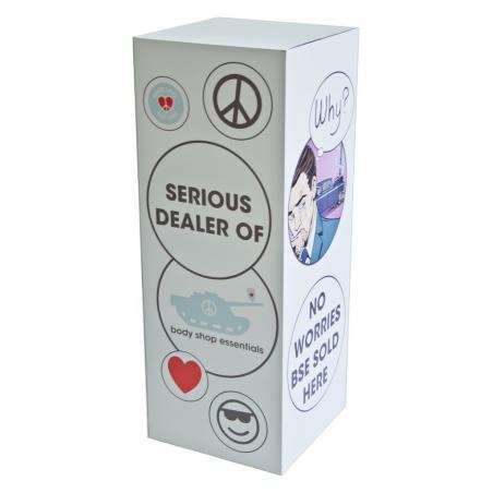 Sockel Pappkarton ganzflächig in Farbe (optionell mit Logo) bedruckt, 45 x 45 x 100 cm (LxBxH)